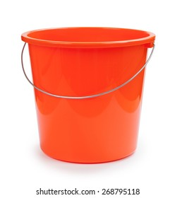 Plastic bucket on a white background