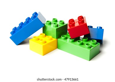 Plastic Building Block Toys. Isolated on white background.