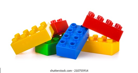 Plastic building blocks, isolated on white