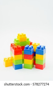 Plastic building blocks isolated on white background