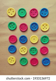 plastic buttons in different colors