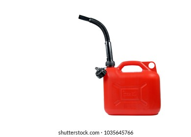Plastic canister for fuel with a hose on an isolated white background