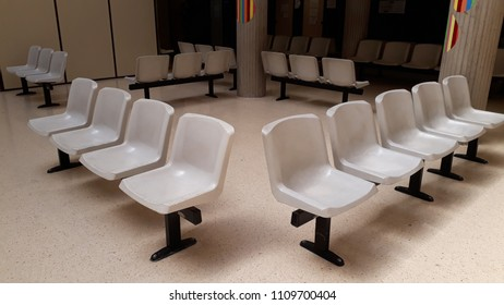 Plastic chairs in waiting room of a hospital