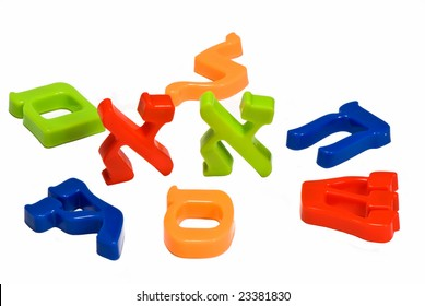 Plastic characters of Hebrew alphabet