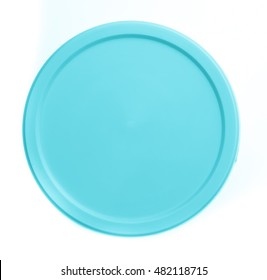 Plastic circle container for dairy foods Isolated on a white background