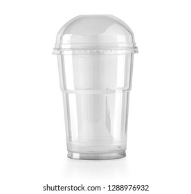 Plastic clear cup with dome lid isolated on white with clipping path