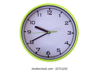 Plastic clock in white background
