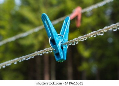 plastic clothesline with clothespin and  dew drops. Blue Clothes peg hanging on clothesline. Reflection of trees in water droplets. blurred trees on green background