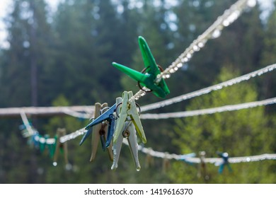 plastic clothesline with clothespin and  dew drops. Green and yellow and blue  Clothes pegs hanging on clotheslines with dew droplets. blurred trees on green background.