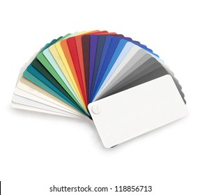 Plastic color swatch on white background. Clipping path.