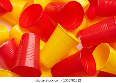 Plastic colored cup close-up - Environmental problem concept