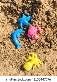 Plastic colored shapes for children play with sand on the beach. Baby plastic molds lying in the sand on the seabeach. Four bright summer toys in the sand in sunny summer day.