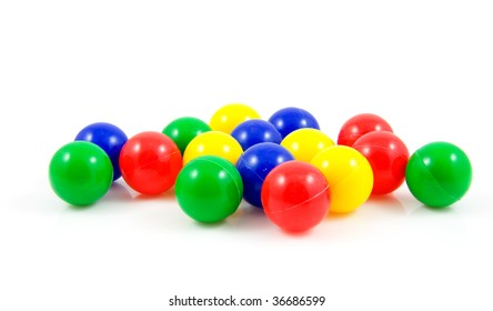 plastic colorful balls isolated on white background