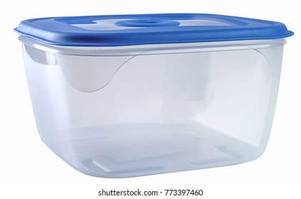 Plastic container with blue lid. Clipping path.