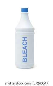 Plastic container of household bleach on white background