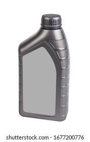 Plastikbehälter für Motoröl einzeln auf weißem Hintergrund, 1 Liter Flaschenkanister. Motorölflasche für Ersatzteile.