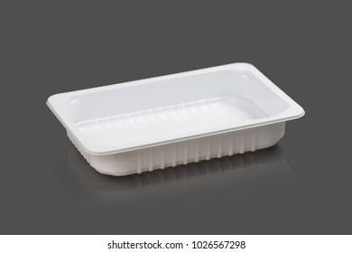 Plastic container on a gray background