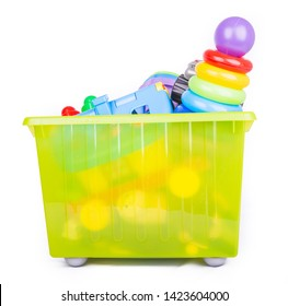 Plastic container with toys for kids