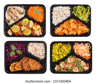Plastic containers full of delicious fresh food, isolated on white background, top view