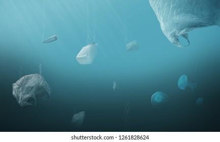 Plastic contaminated ocean, sea, lake. Pollution