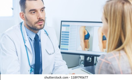 Plastic / Cosmetic Surgeon Talks with Female Patient about Her Future Procedure. His Monitor Shows Before and After Results of Liposuction. World Famous Plastic Surgery Clinic.