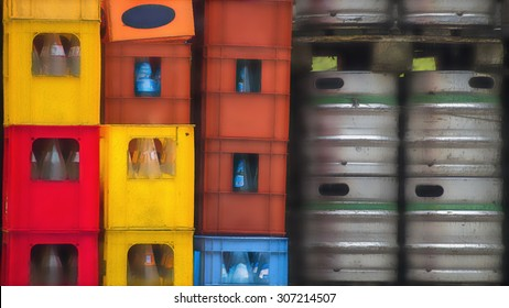 plastic crates of empty bottles tin kegs of beer, soft effect
