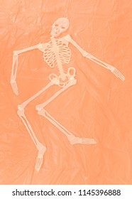 A plastic cream colored skeletone model laying flat on a textured orange plastic sheet. Halloween theme. Space for text.