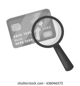 Plastic credit card with a magnifying glass. Detective looking for fingerprints.Detective single icon in monochrome style bitmap, raster symbol stock illustration.