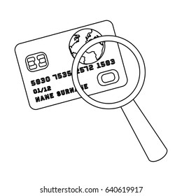 Plastic credit card with a magnifying glass. Detective looking for fingerprints.Detective single icon in outline style bitmap,raster symbol stock illustration.