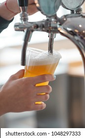 plastic cup of beer flowing from beer tap with nice  foam close-up in female bartender hands on blurred background