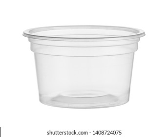 Plastic cup disposable catchup bowl (with clipping path) isolated on white background