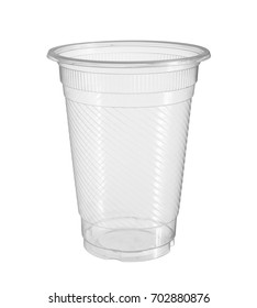 Plastic cup (with clipping path) isolated on white background