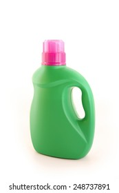Plastic detergent bottle on white background.