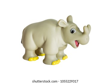 Plastic dinosaur toy, Brontotherium. isolated on white background.