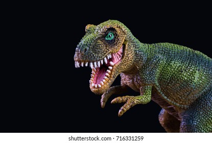 Plastic dinosaur toy isolated on black background