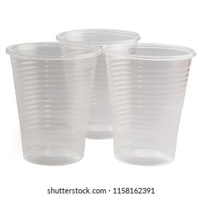 plastic disposable glasses on white background