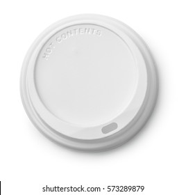 Plastic disposable top coffee cap isolated on white