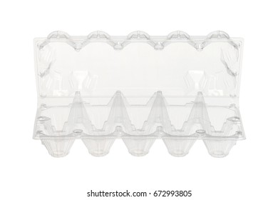 Plastic eggs box (with clipping path) isolated on white background