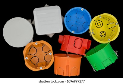 plastic electrical junction box on black background