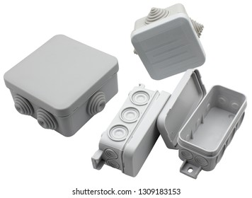 plastic electrical junction boxes isolated on white background