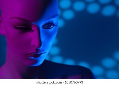 Plastic face. Mannequin woman. A woman is a robot. Artificial Intelligence. Female prototype robot.