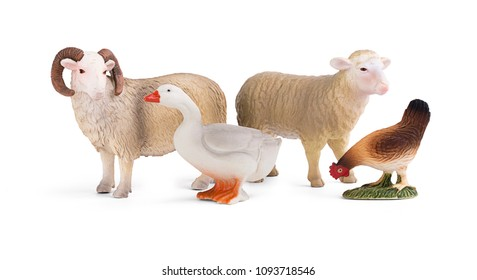 Plastic figurines of a sheep, goose and chicken toy model isolated on a white background