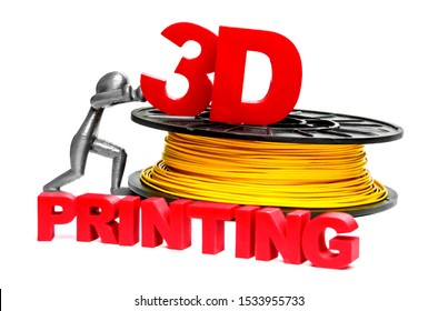 Plastic filament in a coil and the lettering of red letters, created using a 3D printing technology. Holding by a plastic man created using 3D printing. ABS / PLA plastic. Photo isolated on white.