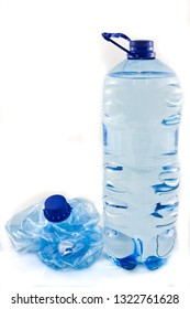 A plastic five litre water bottle isolated.