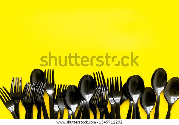 Plastic Flatware Forks Spoons Eco Earth Stock Photo Edit Now