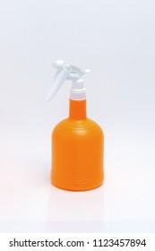 Plastic foggy spray bottle isolated on white background.