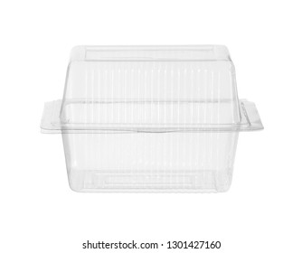Plastic food box cake packaging (with clipping path) isolated on white background