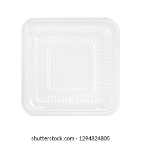 Plastic food box, top view (with clipping path) isolated on white background