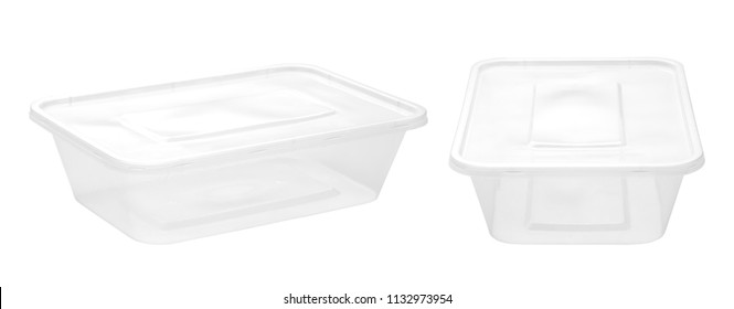 Plastic food boxes isolated on white background
