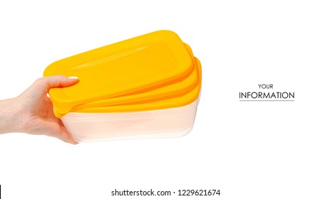 Plastic food container in hand on white background isolation